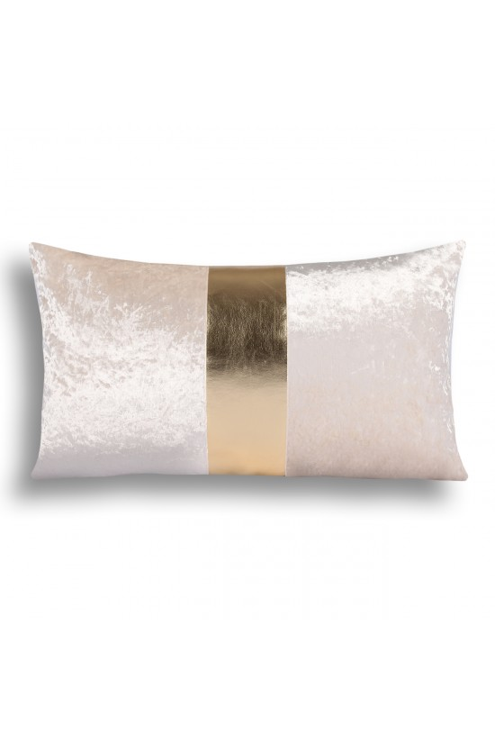 Velvet/Leather Decorative Cushion Cover - Cream/Gold