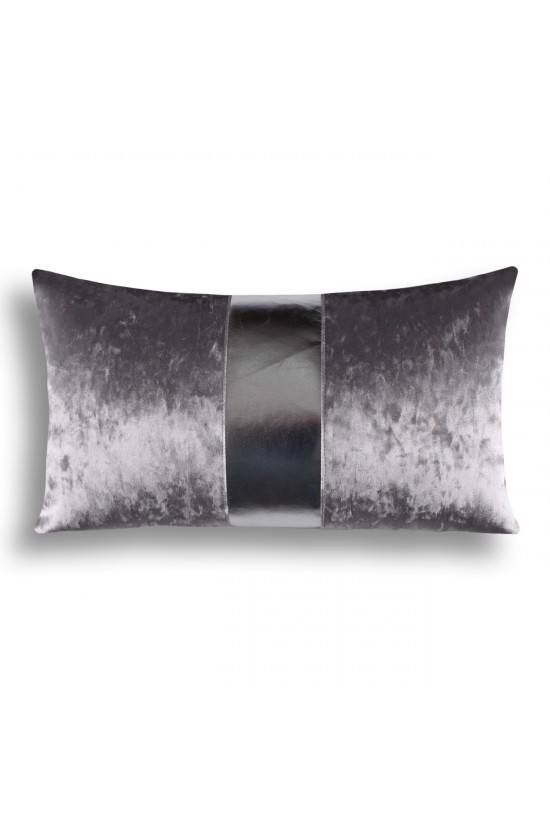 Velvet/Leather Decorative Cushion Cover - Grey/Silver