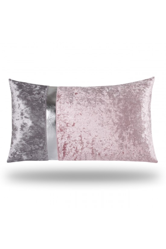 Velvet/Leather Decorative Cushion Cover - Pink/Grey