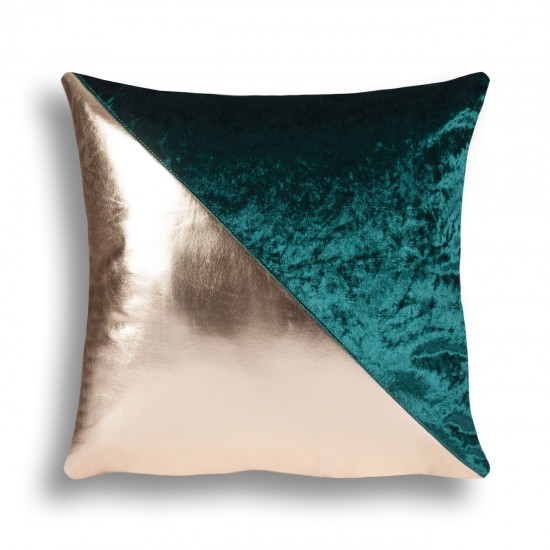 Velvet/Leather Decorative Cushion Cover - Green/Gold