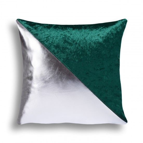 Velvet/Leather Decorative Cushion Cover - Green/Silver