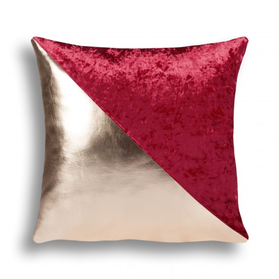Velvet/Leather Decorative Cushion Cover - Claret Red/Gold