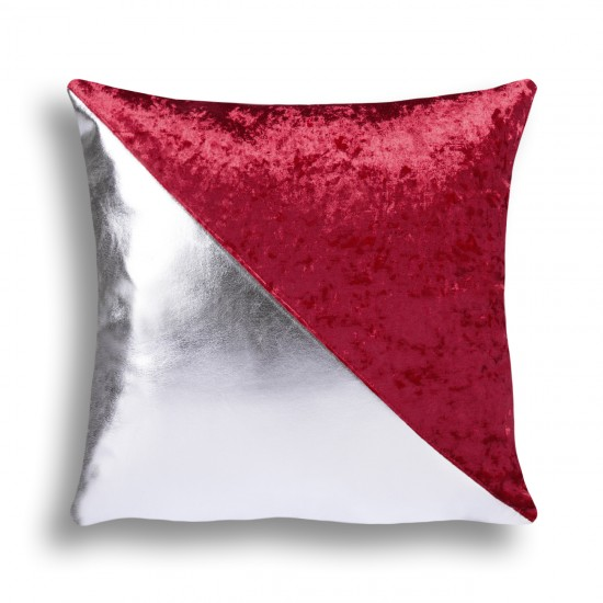 Velvet/Leather Decorative Cushion Cover - Claret Red/Silver