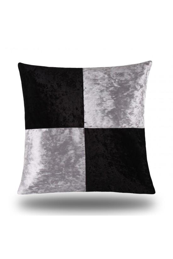 Velvet/Leather Decorative Cushion Cover - Black/Grey