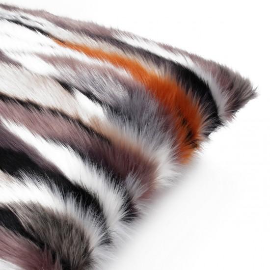 Peluş Kırlent Kılıfı - Renkli Çizgi Efektli