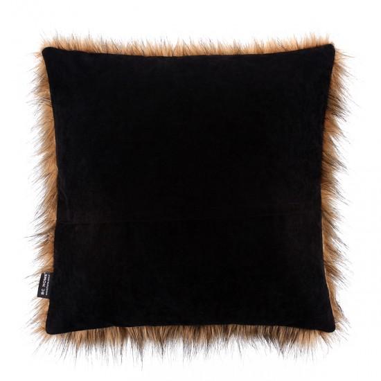 Peluş Kırlent Uzun Tüy Efektli - Kahve / Siyah