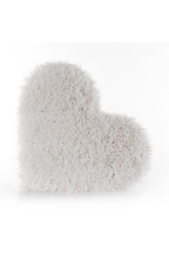 Peluş Kalp Kırlent Kıvırcık - Ekru