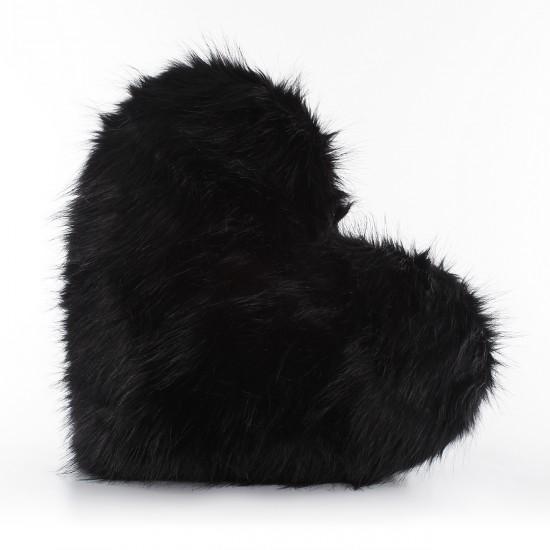 Peluş Kalp Kırlent - Siyah