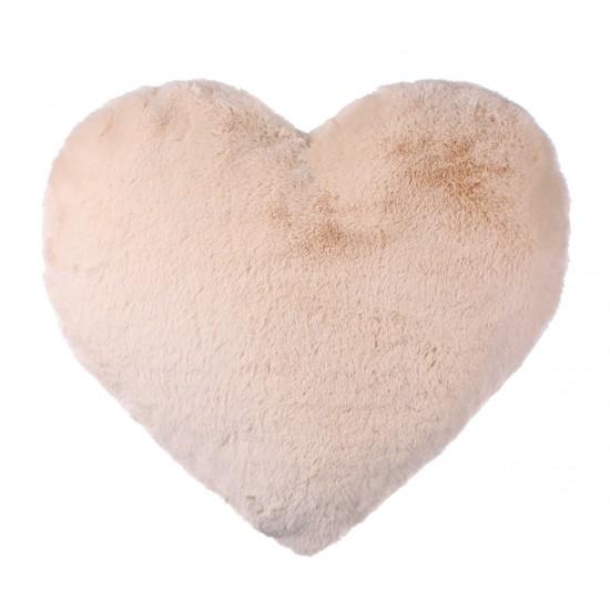 Peluş Kırlent Kalp Şekilli - Bej