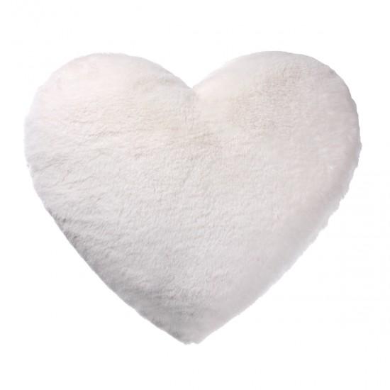 Peluş Kırlent Kalp Şekilli - Beyaz