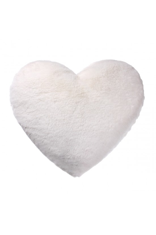 Plush Pillow Heart Shaped - White