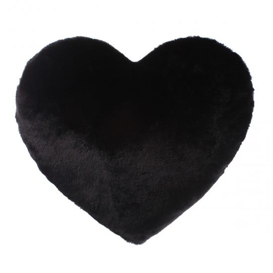 Peluş Kırlent Kalp Şekilli - Siyah
