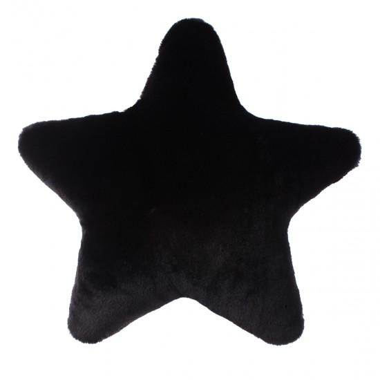 Peluş Kırlent Yıldız Şekilli - Siyah