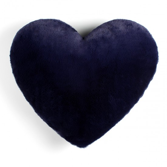 Plush Pillow Heart Shaped - Navy Blue
