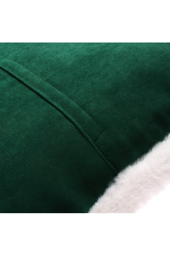 Peluş Biyeli Kırlent Kılıfı - Yeşil