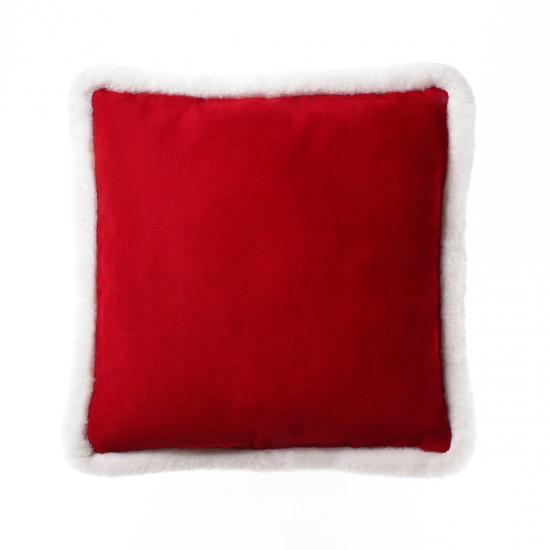 Peluş Biyeli Kırlent Kılıfı - Kırmızı