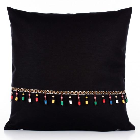 Boncuklu Bohem Dekoratif Yastık Kılıfı Siyah 43*43cm