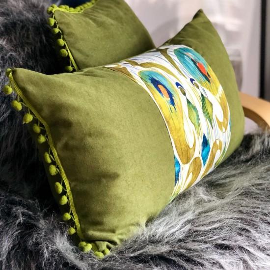 Dekoratif Yastık Kılıfı Şerit Ponponlu Etnik Desen Yeşil