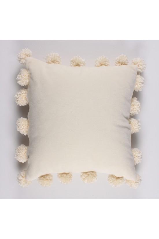 Ponponlu Polar Krem Dekoratif Yastık Kılıfı