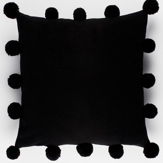 Polar Ponponlu Dekoratif Yastık Kılıfı - Siyah