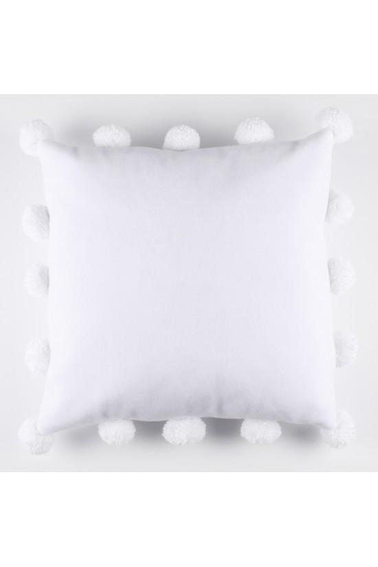 Polar Ponponlu Dekoratif Yastık Kılıfı - Beyaz